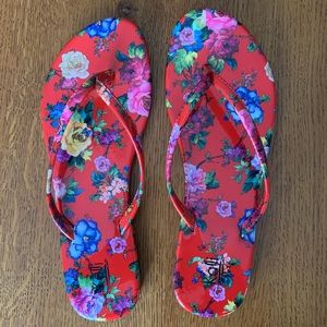 Pretty Red Floral SANDALS Size 10!